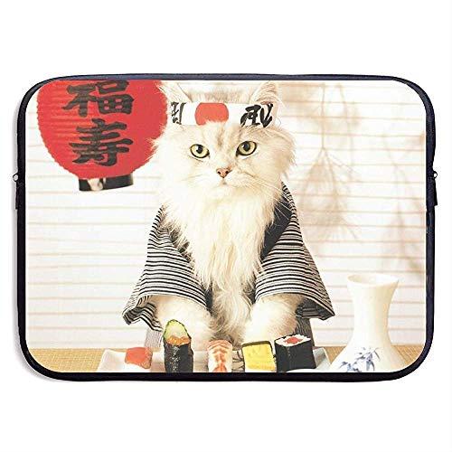 Waterdichte Computer Tas, Zakelijke Aktetas Mes, Laptop Sleeve Case Cover,Sushi Cat Japanse Leuke Funny Kitten Laptop Sleeve Tas, Compatibele Notebook Bag Case, Tablet Case Cover