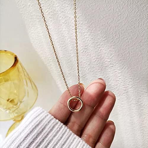 QiuYueShangMao Colgante de Collar Bonito Collar con Colgante Redondo Irregular geométrico para Mujer Gargantilla de Cadena de Color Dorado Simple Collar joyería Regalo para Ella