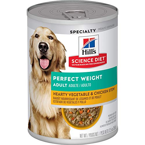 Hill's Science Diet Wet Dog Food, Adult, Perfect Weight for Weight Management, Hearty Vegetable & Chicken Stew Recipe, 12.5 oz Cans, 12-pack