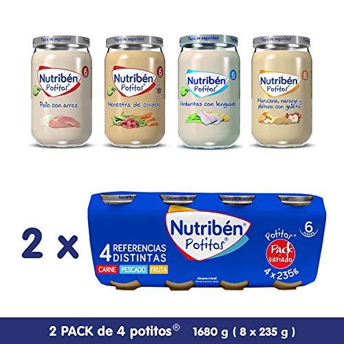 Nutribén Nutribén- Packs De Potitos Variados De Carne, Pesacdo Y Fruta (2X4) 8X235 Gr. 8 Unidades 1880 g