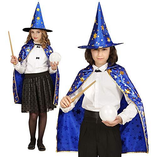 WIDMANN- Mago Mantello Cappello Costumi Completo Bambino Party e Carnevale 702, Multicolore, 8003558059324