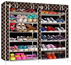 Shoe Rack with Cover Having 12 Shoe Shelf/Tiers, Multipurpose and Foldable Shoe Storage Organizer with Iron Pipe and Non Woven Fabric Cover, Front Closable Zippered Roll up and Roll Down Doors