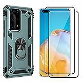 Dedux Duro PC y TPU Funda para Huawei P40 Pro + [2 Piezas] Cristal Vidrio Templado, [Soporte Magnético para Automóvil] Defensa Militar Probada con pie de Apoyo, Verde Oscuro