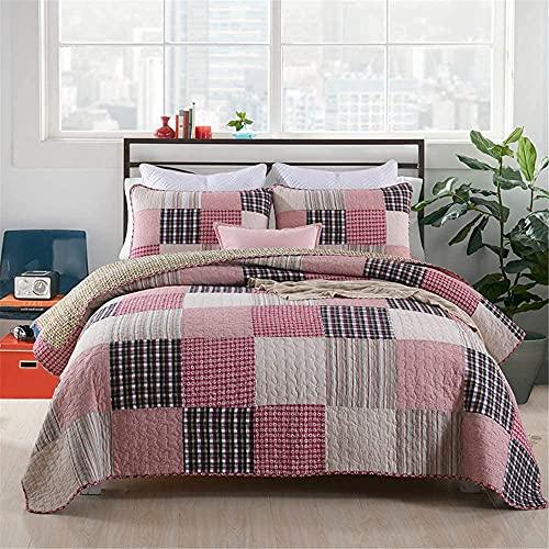 N&G Decoración del hogar Colcha Acolchada - Rosa Beige Patchwork Suave Colcha 3 Piezas 100% algodón Edredón Manta Reversible 135/150 Cama Doble 230x250cm + 2X 50x70cm
