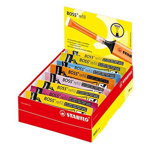 Recambio de tinta para STABILO BOSS ORIGINAL - Caja con 20 unidades colores surtidos