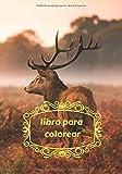 Libro para colorear: Cuaderno para niños - niñas y niños - Diario de 65 dibujos de Ciervos - Renos – Animales