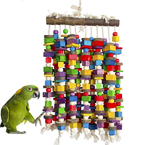 MQ Bird Toy Parrot Toy Made with Nature Wood, Parrot Toys for Large and Medium Birds, Best Toys for African Grey, Parakeets, Amazon Parrots, Finch, Budgie, Cockatiels, Conures D