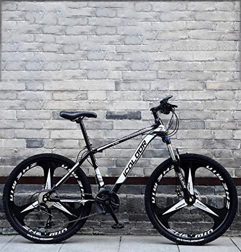 HCMNME Bicicleta Duradera 26 Pulgadas de Bicicletas de montaña, Doble Freno de Disco Trek Bicicletas, Marco de aleación de Aluminio/Ruedas, Playa de Motos de Nieve Bicicleta, Negro, 24 de v