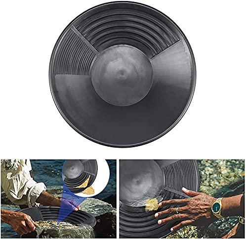 Delisouls Dorado Pan Cuenca, Nugget de Carga Dragado Prospección Tamizar Batea 385x80mm, Cuenca River Herramienta Nugget de Carga Batea Equipo para Gold Rush - Negro