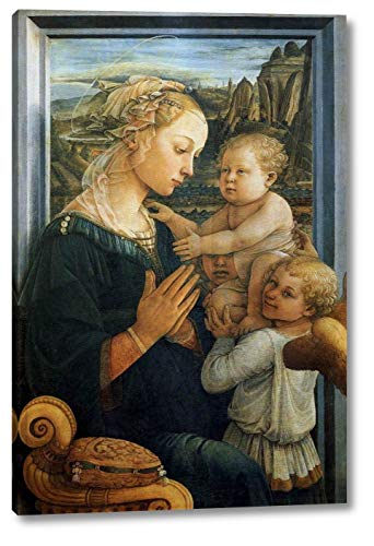 """Madonna with The Child and Two Angels by Fra Filippo Lippi - 11"""" x 16"""" Gallery Wrap Canvas Art Print - Ready to Hang"""