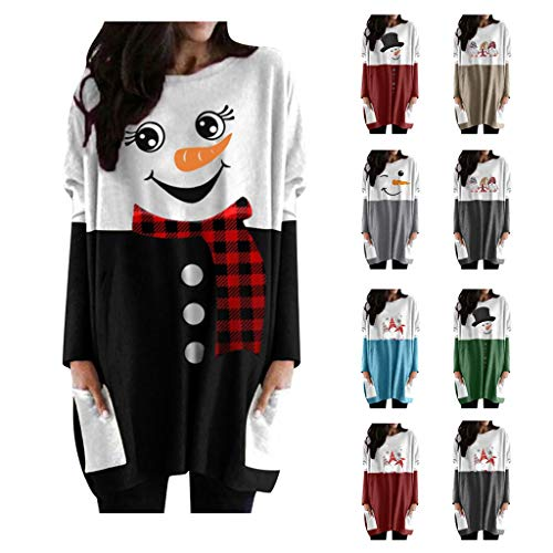 FarJing Women Long Sleeve Tops Christmas Cute Printed Tunic Oversized Sweatshirt Pockets Pullover Tee T-Shirt Blouse