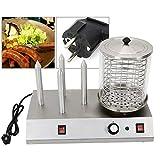 Máquina para hacer perritos calientes, 538 W, con 2 pinchos calefactores, para salchichas y salchichas