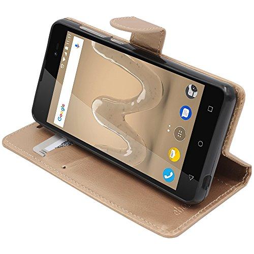 ebestStar - kompatibel mit Wiko Sunny 2 Plus Hülle Kunstleder Wallet Hülle Handyhülle [PU Leder], Kartenfächern, Standfunktion, Gold [Phone: 146.3 x 73.7 x 9.8mm, 5.0'']