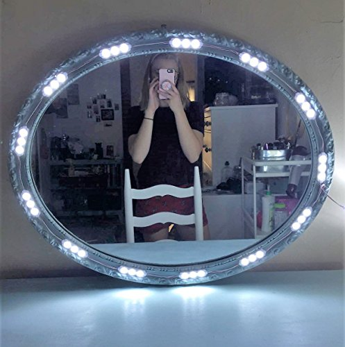 SOLOMONE CAVALLI LED Lighted Mirror for Cosmetic Makeup Vanity Mirror Kit Dressing Table Mirror , Bathroom , Under Cabinet , with Remote Cotroller and Power Supply Plug ON//OFF Switch
