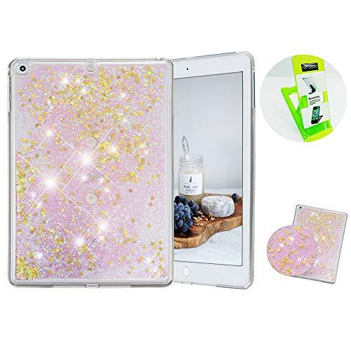 Caselover ES Funda para Apple iPad Air 2, Carcasa iPad 6, 3D Bling Silicona Carcasas Glitter Líquido Dinámico Arena Movediza TPU Navidad Bumper Cover para Apple iPad Air 2/iPad 6 - Oro
