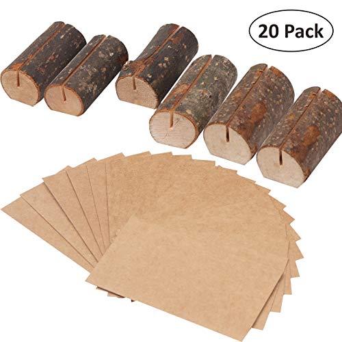 BELLE VOUS Rustikalen Holzkartenhaltern (Set mit 20)- 30 Namenkarten Halbrunde Holz Kartenhalter Kartenständer Platzkarten Hochzeit, Restaurant Menükartenhalter, Tischaufsteller, Fotos