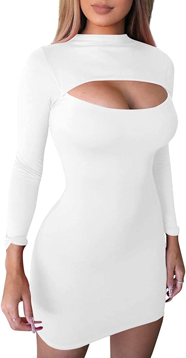 GOBLES Women's Casual Wear Turtle Neck Long Sleeve Ribbed Knit Bodycon Mini Dress