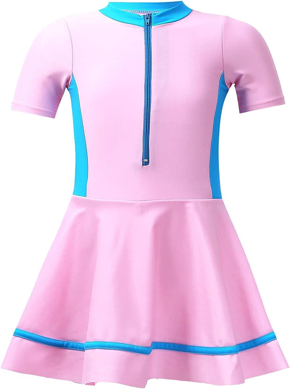 Nimiya Little Girls One Piece Swimsuits Quick Dry Rash Guard Swimwear Beach Swim Dress Bathing Suit