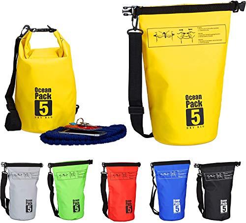 AVASAGS 5L, 10L, 20L Waterproof Ocean Pack Outdoor Dry Bag Duffel Bag Survival Bag Dry Bag Swimming Boating Camping Dry Bag for Kayak (A-Yellow, 15L)