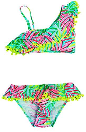 VanessaShop Mooie bikini voor meisjes in one-schouder optiek in bonte kleuren met volant en vele leuke bommels aan de rand in de maten 134-164