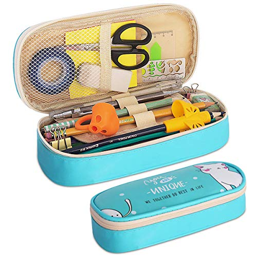 Pencil Case, Firesara Large Capacity Pen Case PU Pencil Bag Pouch Pen Pencil Marker Stationery Organizer with Double Zipper Big Storage Compartments for Boys Girls Students School Office (Sky Blue)