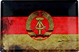 Blechschild 20x30 Flagge DDR mit Hammer Zirkel Ährenkranz Used Erscheinungsbild im Retro Nostalgie Vintage Design Ostalgie GDR Neue B&esländer