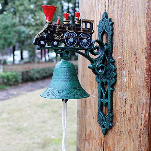 Vintage Bell Cast Iron Wandmontage Retro Oude Trein Gietijzeren deurbel for Garden Shop Coffee Hangers voor Garden Farmhouse Yard (Color : Multi-colored, Size : Free size)