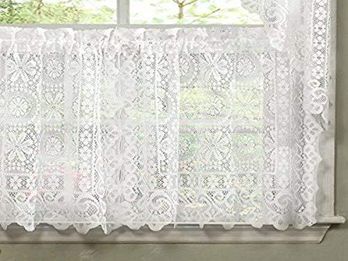 Sweet Home Collection - Cortina de Cocina de Encaje con diseño Floral, 61 cm, Color Blanco