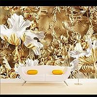 YNYEZBH 3Dリビングルーム壁画木彫刻蓮寝室壁ステッカーウォールアート壁紙装飾