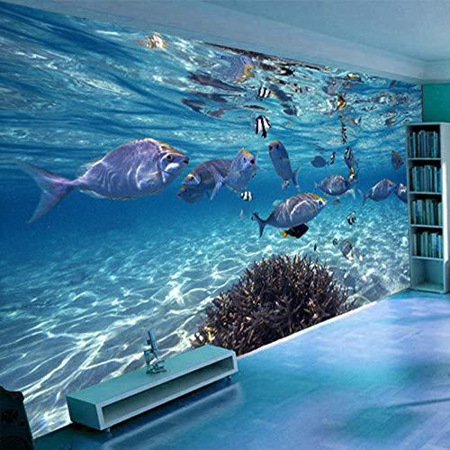 3D Blue Ocean Fish Fototapete Unterwasserwelt Benutzerdefinierte Stereo-Cartoon-Wandbild Vlies Wohnzimmer Tapeten für Kinder Schlafzimmer-350 * 256cm