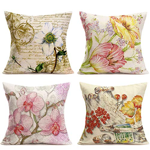 Hopyeer Cotton Linen Throw Pillow Covers Vintage Flowers Decorative Retro Fall MagnoliaFlowerButterflyOrchid Maple Xmas Mistletoe Pillowcase Home Sofa Decoration Cushion Cover 18'x18' (VF-Magnolia)