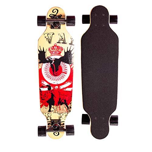 Sumeber Longboard Skateboard 31 Zoll for Anfänger Twin Tip Street Long Board Komplettes Drop-Through Freeride Skating Cruiser Boards mit Light Up Wheels für Jugendliche Erwachsene Kinder Als Geschenke