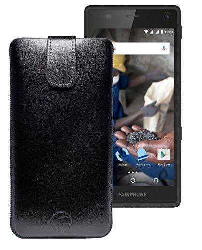 Favory Tasche Leder Etui / Fairphone 2 / ECHT Ledertasche Hülle Schutzhülle (Lasche mit Rückzugfunktion) schwarz