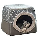YunNasi Pet Bed Cat & Dog Bed Cave Ultra Soft Bed Pets Comfortable Bed for Cats 38x38x34cm (38x38x34cm, Grey)