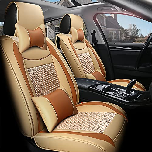 FREESOO Car Seat Covers Leather, Full Set Carseat Cover Cushion Auto Interior Accessories Airbag Compatible for 5 Seats Vehicle Year Round Use (Khaki Orange 10)
