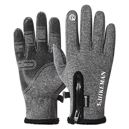 Fine Non-Slip Winter Gloves,Suitable for Indoor and Outdoor Sports, Short-Distance Cycling, Driving, Gardening, Mountain Bike Riding, Gloves for Men and Women (Gray, M)