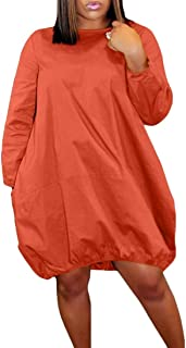 GAGA Women's Cocoon Bubble Hem Long Sleeve Midi Dress with Pockets