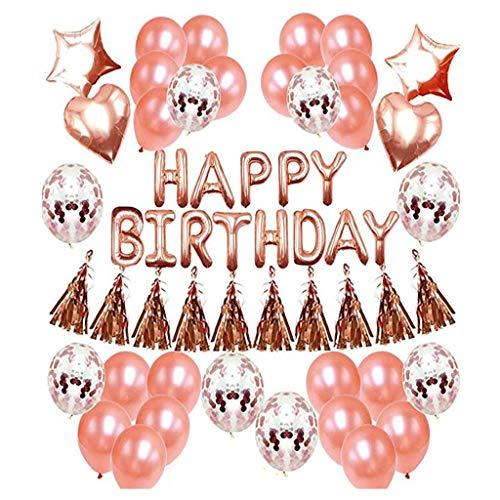 TOYS Set De Decoraciones para Fiestas De Globos De Cumpleaños De Oro Rosa,Pancarta De Feliz Cumpleaños, Borlas Brillantes, Globos De Confeti con Letras, Decoraciones para Cumpleaños