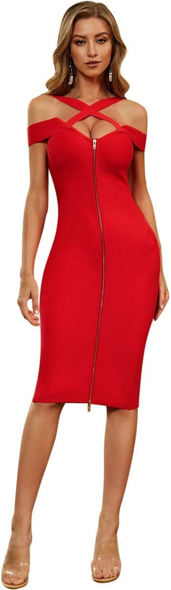 YonCog Ladies Evening Dresses Cross-Chest Cross Strapless High Waist Bag Hip Bandage Dress Women's Club & Night Out Dresses (Color : Red, Size : Medium)