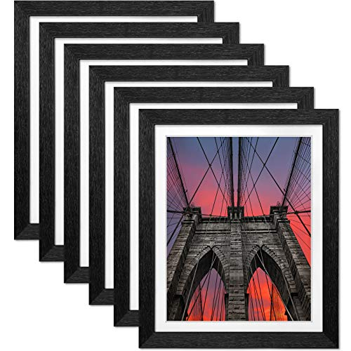 Ophanie 9x11 Picture Frames Set of 6, Easy Setup Photo Frame with 8x10 Mat and High-Definition Plexiglass for Wall or Tabletop Display, Black