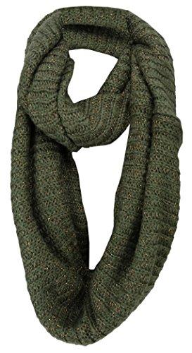 TigerTie Loop gebreide sjaal in olijfgroen koper glanzend in glitterlook - maat 200 x 40 cm.