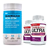 QuadraLean (150 Capsules) & Carb Block Ultra (60 capsules)(2 Bottles) - The Ultimate Fat Burning / Weight Loss Package. Double Your Results!