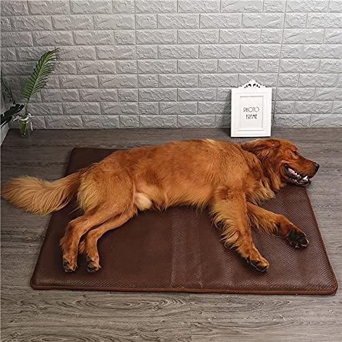 Alfombrilla de refrigeración para perros con fibra de bambú natural, lavable, mantiene a tus mascotas frescas en interiores o en el coche, marrón, M