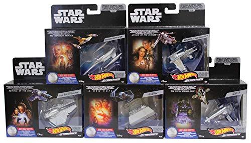 Hot-Wheels Juego de 5 Naves espaciales de Star Wars, vehículos de Juguete, Autos de Juguete para coleccionar y Jugar para niños y fanáticos (Set A)