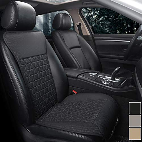 Black Panther 1 Pezzo di Lusso Anteriore Coprisedile Universale Auto Compatibile con Il 95% di Automobili (Berlina/SUV/Camioncino/Furgone) - Nero