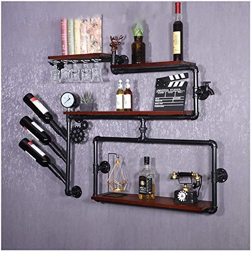 YLCJ Wand-wijn in industriële stijl, vintage-stijl, strijkijzer, voor water, wandplank van massief hout, voor eetkamer, woonkamer, bar (maat: # 1) #7