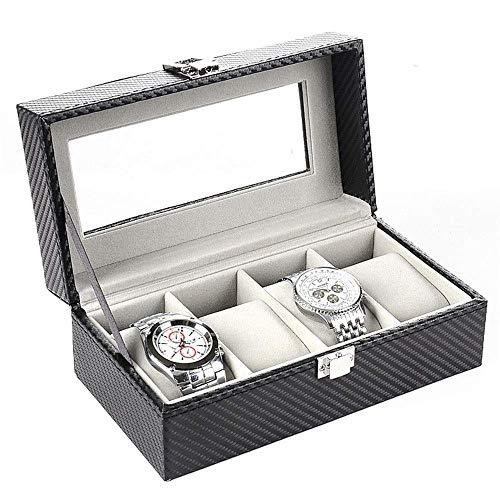 GUOCAO Caja de almacenamiento para 4 relojes, de piel sintética, fibra de carbono, caja de terciopelo gris, caja de joyería (color: negro, tamaño: S), pantalla (color: negro, tamaño: pequeño)