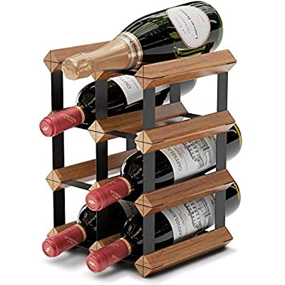 Countertop Wine Rack - 6 Bottle Wine Holder w/ 2 Extra Slots - No Assembly Required - Small Wine Racks Countertop - Small Wine Rack Countertop - Metal Wine Rack - Wine Bottle Rack - Tabletop Wine Rack