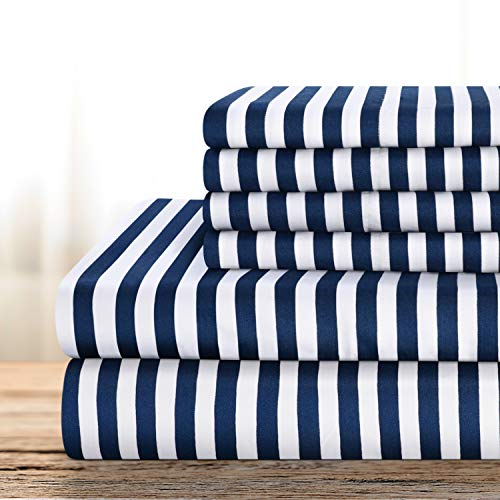 BYSURE Hotel Luxury Printed Bed Sheets Set 6 Piece (Full, Pinstripe-Navy) - Super Soft 1800 Thread Count 100% Microfiber Sheets with Deep Pockets, Wrinkle & Fade Resistant