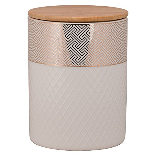 10 Strawberry Street Embossed Canister with Bamboo Lid - Gold Tory - LG